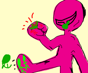 Big pink guy killing a bunch of green guys