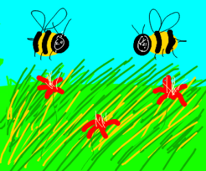 Bumblebees in a field