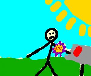 A stickman has arm in mailbox, arm has ribbon