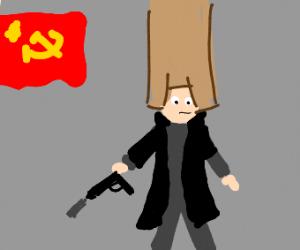 Russian Secret Police wearing a very long hat