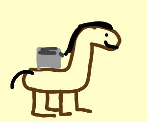 toaster riding a horse