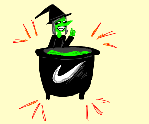 A witch pot sponsored by Nike