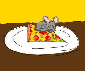 A mouse sleeping on pizza