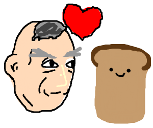 old bald man falls in love with toast