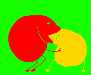 Red thing eating a yellow thing