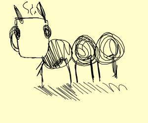ant with coffee mug head