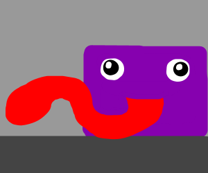 a purple box with a long red tongue