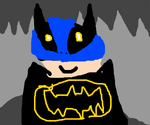 Batman wearing blue underpants on his head