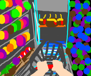 First-person shopping scene