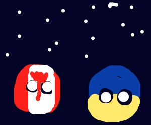 Ukrane and Canada countryballs stargaze