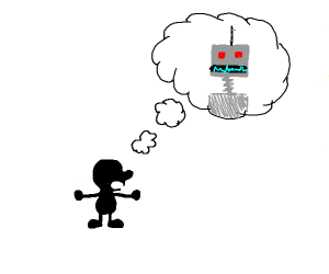 Mr Game And Watch Thinking About Robots