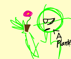 Salad Fingers with a plant