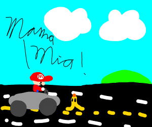 Mario driving about to slip with a Banana