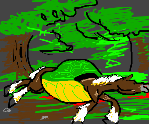 dead turtlehorse in the forest