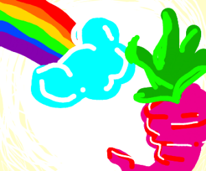 a beet with a rainbow in the top left corner