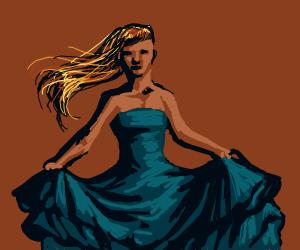 Woman in a beautiful blue dress
