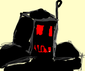 black robot with red eyes