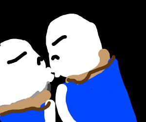 sans kissing a clone of himself