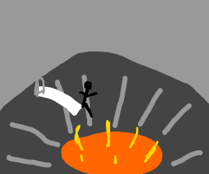 Diving board over a volcano