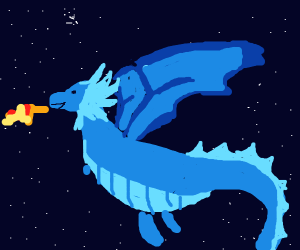 blue dragon in space