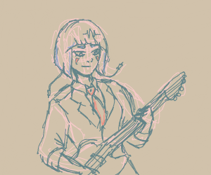The girl plaing guitar