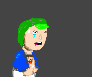 Crying green haired boy holding a doll