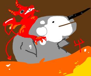 satan riding narwhal