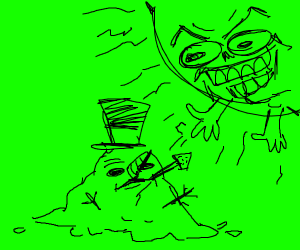 snowman is destroyed by a green maniacal sun