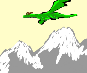 dragon flying over mountains