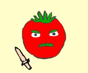 Italian tomato with mustache and bread