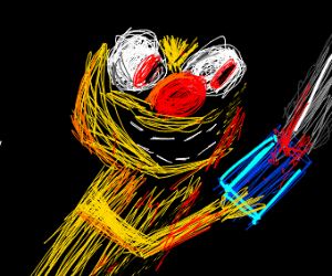 yellow Elmo is killing People with a chainsaw