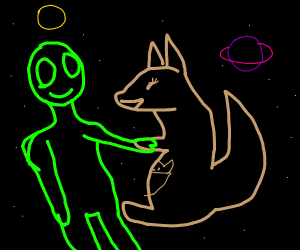 Alien and kangaroo hanging out in space