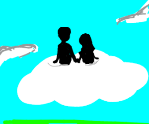 Two People Hanging Out On A Cloud