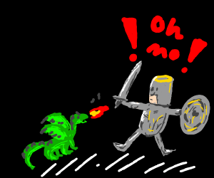 Dragon attacking an kight