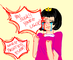 A cute princess get hurt by insults to her