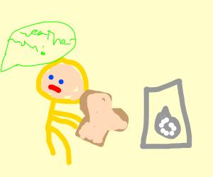 Weatherman hiding with Toast
