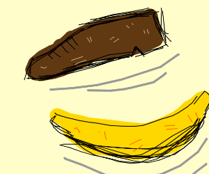 Ominously levitating shoe and banana