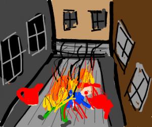 burning the scene of a murder