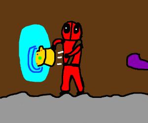 Deadpool throws infinity gauntlet into portal