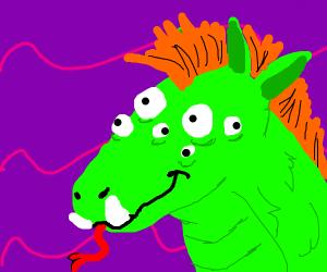 Mutated green horse