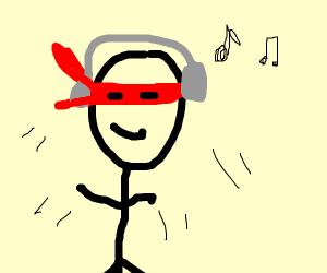 ninja listening to music