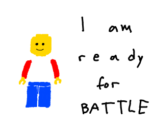 lego man without torso ready for battle