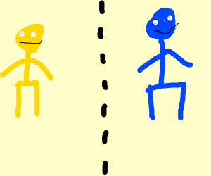 yellow man on opposite side of blue man