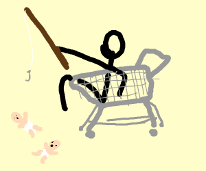 Guy in shopping cart fishes for babies