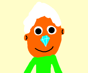 orange-faced guy with white hair and gem nose