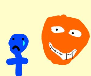 Blue boy cries while orange watches