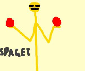 Spaget holding 2 red balls