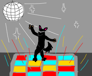 Black dog at a disco
