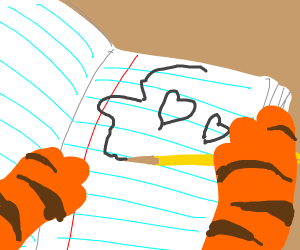 A tiger drawing on notebook paper