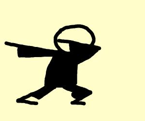 Guy in black dabbing
